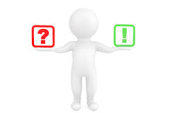 3d person with exclamation and question marks in hands. On a white background Stock Photography