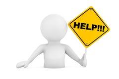 3d Person Falling dans les problèmes avec le signe d'aide rendu 3d Illustration de Vecteur