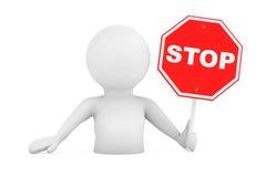 3d Person Falling dans les problèmes avec le signe d'arrêt rendu 3d Illustration Stock