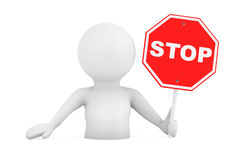 3d Person Falling in Problems with Stop Sign. 3d Rendering. 3d Person Falling in Problems with Stop Sign on a white background. 3d Rendering Stock Photo