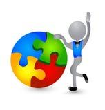 3D person figure solving puzzle Stock Photos