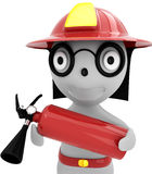 3d person - fireman. With the fire extinguisher and in a helmet Stock Images
