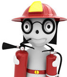 3d person - fireman. With the fire extinguisher and in a helmet Royalty Free Stock Images