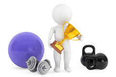 3d person with fitness objects and trophy Royalty Free Stock Photos