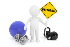 3d person with fitness sign Stock Photography