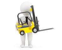 3d person with Forklift Truck Royalty Free Stock Photo