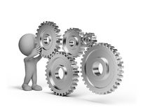 3d person with a gears wheel. 3d person  with a shiny wheel gears. 3d image. White background Royalty Free Stock Image