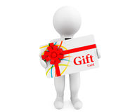 3d Person with a Gift Card. On a white background Royalty Free Stock Image
