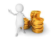3d person with gold coins over white background. 3d render illustration Stock Photography