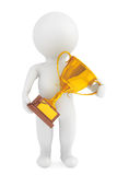 3d Person with a Gold Trophy in hands Royalty Free Stock Photo