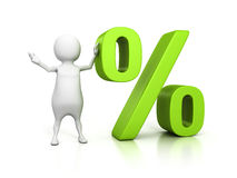 3d person with green percent symbol. discount offer concept Stock Photo