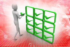 3d person with green positive symbol in hands Royalty Free Stock Photos