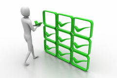 3d person with green positive symbol in hands Stock Images