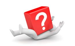 3d person with heavy red question mark. Business concept. Separated on white Royalty Free Stock Image