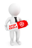 3d Person hold Pill with Stop Ebola sign Royalty Free Stock Image