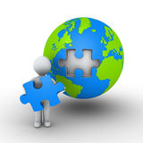 Person holding puzzle piece of earth. 3d person is holding the last puzzle piece of globe Royalty Free Stock Image