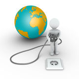 Person is about to plug in the globe Stock Photo