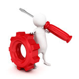 3d person holding a red screwdriver and gear. Concept 3d render illustration Royalty Free Stock Photo