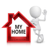 3d person with a house symbol. White  background Stock Image