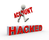 3d person jumping over hacked account. 3d illustration of man holding word account and jumping over hacked. Concept of cracking, hacking and account hacked. 3d Stock Images