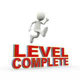 3d person jumping over  text level complete Stock Images