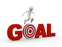 3d person jumping over word target goal Royalty Free Stock Images