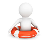 3d person with life-buoy Royalty Free Stock Photo