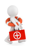 3d person with lifebuoy ring and first aid box. On a white background Royalty Free Stock Photo
