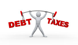 3d person lifting debt and taxes Stock Photography
