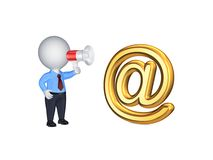 3d person with loudspeaker and AT symbol. Royalty Free Stock Photography