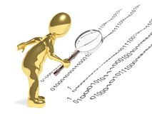 3d person with magnifying glass. Find digital code Stock Photography