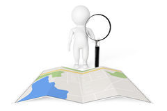 3d Person with Magnifying Glass near City Map Royalty Free Stock Photography