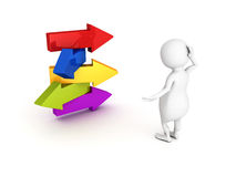 3d person make choice on arrows crossroad. Concept 3d render illustration Royalty Free Stock Photography