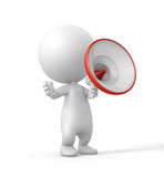 3D Person Making an Announcement with Megaphone. Royalty Free Stock Photography