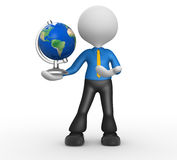 Earth globe. 3d person - man, person and the earth globe. Elements of this image furnished by NASA Stock Photography