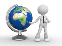 Earth globe. 3d person - man, person and the earth globe. Elements of this image furnished by NASA Stock Photos