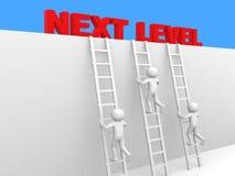 3d Person - Mann, Person mit Leiter Folgendes Niveau Fortschritt conce Lizenzfreies Stockbild
