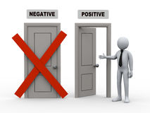 3d person and negative - positive doors. 3d illustration of businesman offer for possitive way door while negative door has been closed. 3d rendering of human Stock Photography