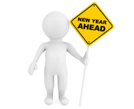 3d person with New Year Ahead traffic sign Stock Photo