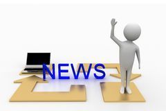 3d  person  news laptop illustration Stock Photos