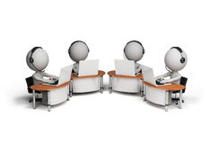 3d person – operators. Employees working in a call center. 3d image. White background Royalty Free Stock Images