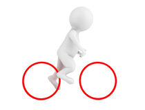 3d Person Over Abstract Bike. On a white background Royalty Free Stock Photos
