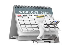 3d Person over Treadmill in front of Workout Plan. 3d Rendering Stock Photo