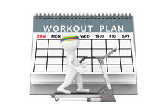 3d Person over Treadmill in front of Workout Plan. 3d Rendering. 3d Person over Treadmill in front of Workout Plan on a white background. 3d Rendering Stock Photography