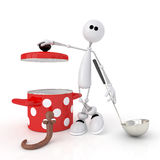 The 3D person with the Pan. Royalty Free Stock Photos