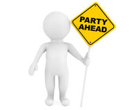 3d person with Party Ahead traffic sign Royalty Free Stock Image