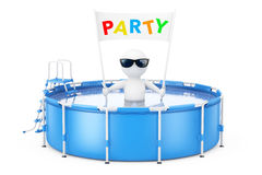 3d Person with Party Placard Banner in Blue Portable Outdoor Rou Royalty Free Stock Photography