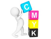 3d person placing CMYK Cubes. On a white background Stock Photos