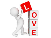 3d person placing Love Cubes Royalty Free Stock Photography