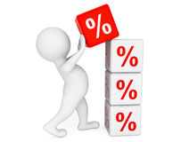 3d person placing Percent Cubes Royalty Free Stock Image